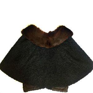 True vintage ethical fur curly lambs wool wrap